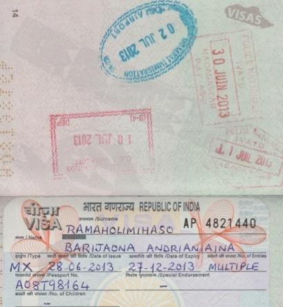 Visa et tampons Inde
