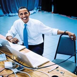 Barack Obama with a Macbook